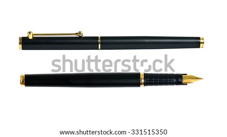 Elegance golden ink fountain pen isolated on white - stock photo