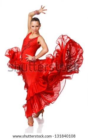 Elegance Latino dancer girl in action. Isolated on white - stock photo