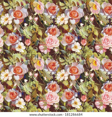 Elegance Raster seamless rose pattern for fashion design - stock photo