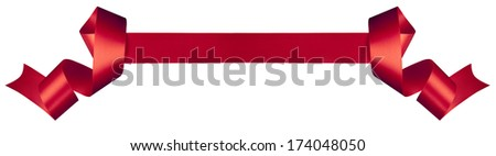 Elegance red ribbon with white background - stock photo