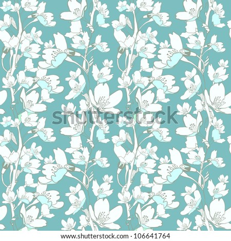 Elegance seamless pattern with apple tree flowers, floral illustration in vintage style. - stock photo