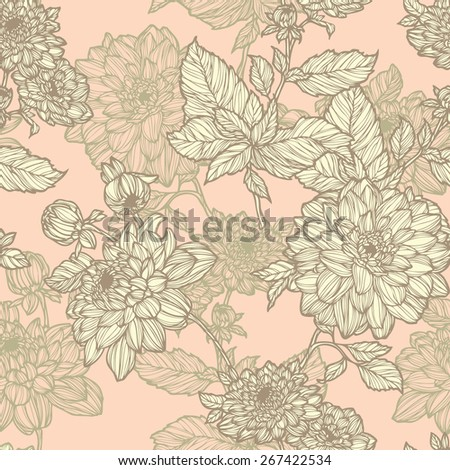 Elegance Seamless pattern with chrysanthemum flowers, floral vector illustration in vintage style - stock photo
