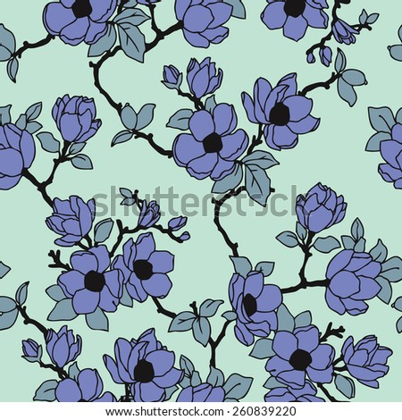 Elegance Seamless pattern with flowers apple-tree, floral illustration in vintage style - stock photo