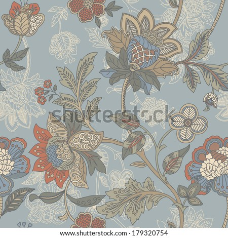 Elegance Seamless pattern with flowers, floral illustration in vintage style - stock photo