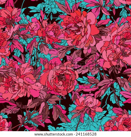 Elegance Seamless pattern with flowers peonies, floral illustration in vintage style - stock photo