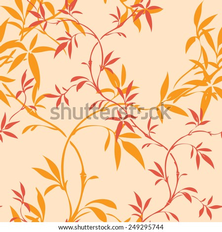 Elegance Seamless pattern with leaf ornament, floral illustration in vintage style - stock photo