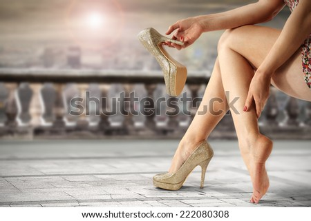elegance shoes and legs of woman  - stock photo