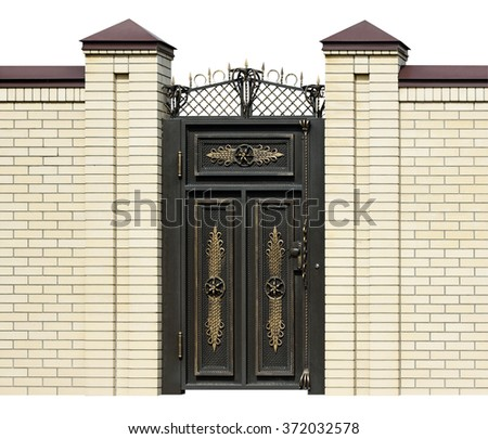 Elegance,  wrought  door  in old  stiletto. Isolated over white background. - stock photo