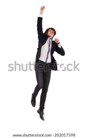 Elegance young man jumping in the air. Full length studio shot isolated on white. - stock photo