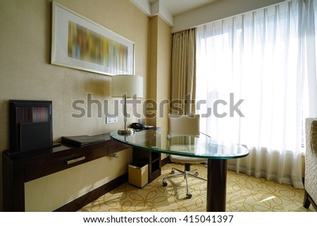 Elegant and comfortable home & hotel bedroom interior.