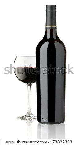 elegant and expensive red glass and bottle wine for mounting graphic design