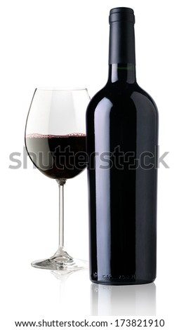 elegant and expensive red glass wine for mounting graphic design - stock photo