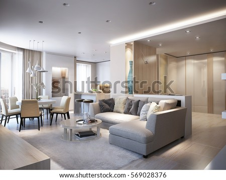 Elegant And Luxurious Light Open Living Dining Room With White Walls Bright Stone Floors