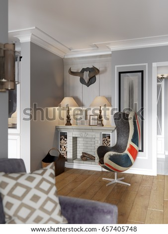 Elegant and luxurious modern classic urban contemporary open living room,  kitchen and dining room interior