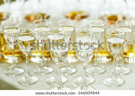 Elegant and luxury alcohol table wine champagne cognac at wedding reception - stock photo