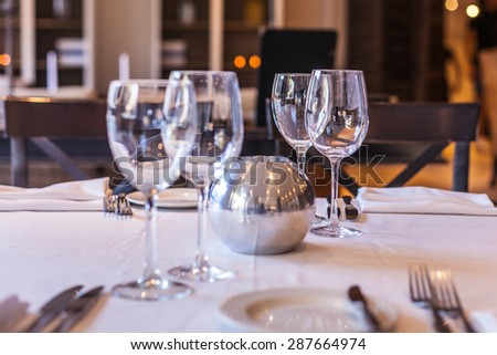 Elegant and simple restaurant table