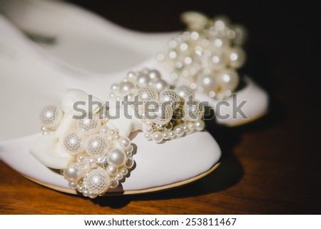 Elegant and stylish bridal shoes. Wedding accessories