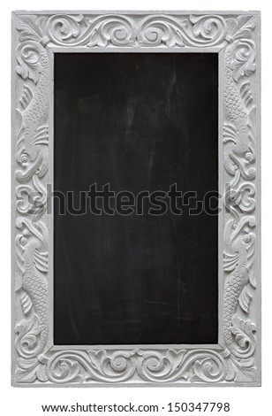 Elegant antique white picture frame chalkboard - blackboard isolated on a white background - stock photo