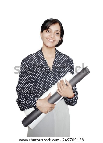 Elegant architecture student holding paper rolls over isolated white background. - stock photo