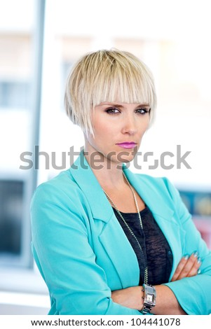 elegant attractive woman making unhappy expression