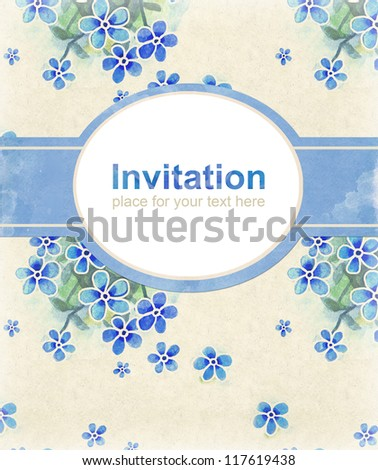 Elegant background with watercolor flowers. Perfect for invitations or announcements - stock photo