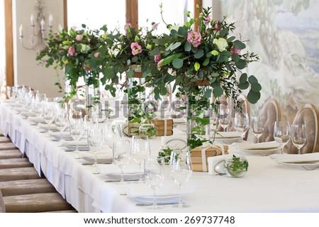 Elegant banquet wedding table setting - stock photo