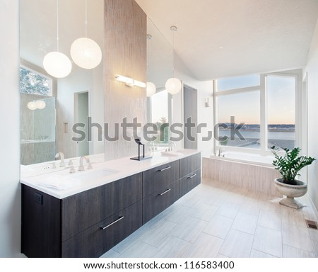 Elegant Bathroom in Luxury Home - stock photo