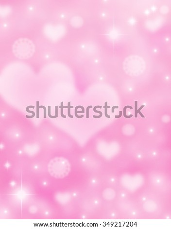 Elegant beautiful bright pink bokeh background with shining stardust, hearts and stars. Sparkling holidays background. Valentine day love beautiful. Vertical candy pink romantic love postcard concept. - stock photo