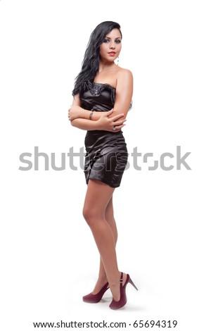 Elegant beautiful woman isolated on white background - stock photo