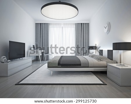 Elegant bedroom contemporary style. Monochrome interior bedroom with elegant double bed and white patterned carpet with black frame. 3D render
