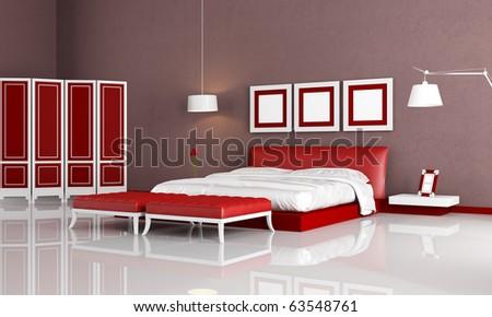 elegant bedroom with modern bedroom ottoman and screen - rendering - stock photo