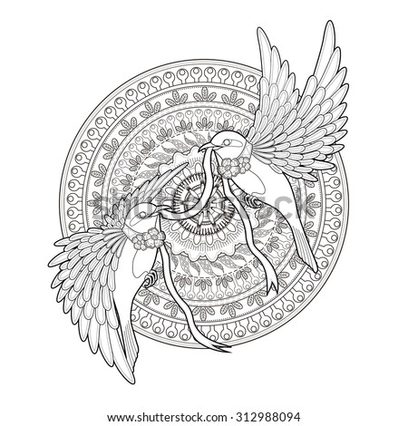 elegant bird coloring page in exquisite style - stock photo