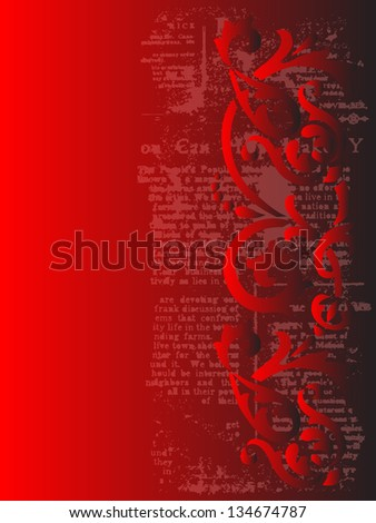 elegant black and red grunge background with floral ornament and copy space