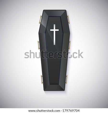 Elegant black coffin with glare and yellow handles - stock photo
