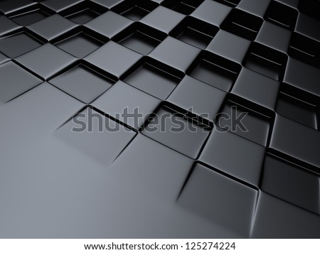 Elegant black metallic background with chess pattern and space for text - stock photo