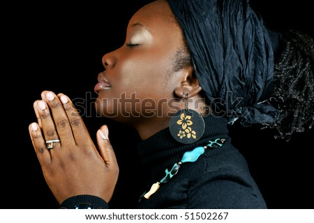 elegant black woman praying