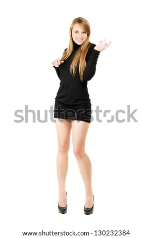 Elegant blond lady posing in black slinky dress. Isolated on white