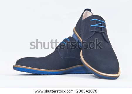Elegant blue suede leather shoes - stock photo