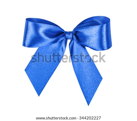 Elegant blue, ultramarine gift ribbon bow, satin, isolated on white
