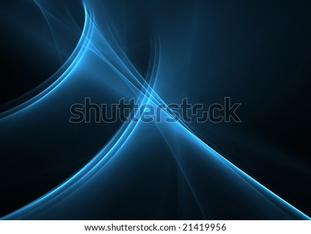 Elegant blue waves on a black background-3D rendered fractal. - stock photo
