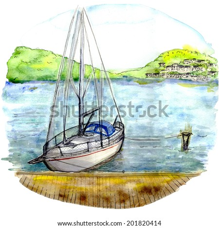 Elegant boat or yacht in the quay at the South hand painted watercolors