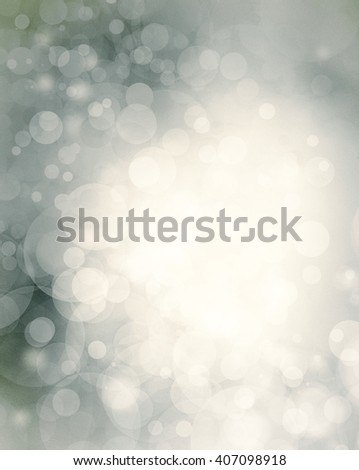 elegant bokeh blur background design in soft white light circles on gray blue background color - stock photo