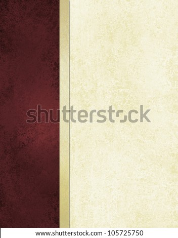 elegant book cover or journal album paper, white background with burgundy red side bar and gold ribbon stripe along border of frame, formal menu or website template, vintage grunge background texture - stock photo