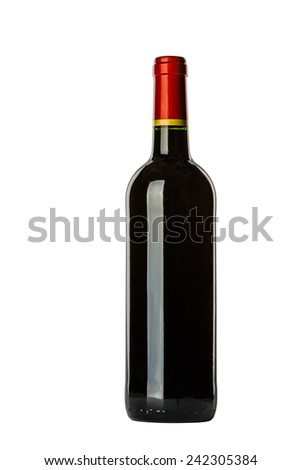 Elegant bottle of red wine in a classic style, isolated