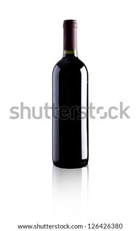 elegant bottle of red wine on white background - stock photo