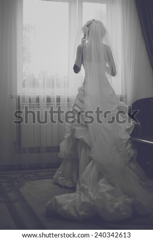 elegant bride indoors. standing near window