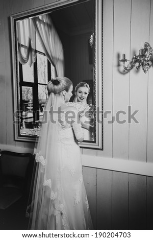 elegant bride on her wedding day in a classic interior
