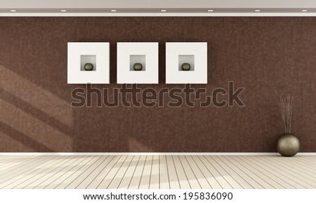 Elegant brown interior without furniture - rendering - stock photo