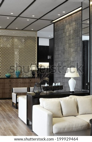 Elegant business clubhouse interiors - stock photo