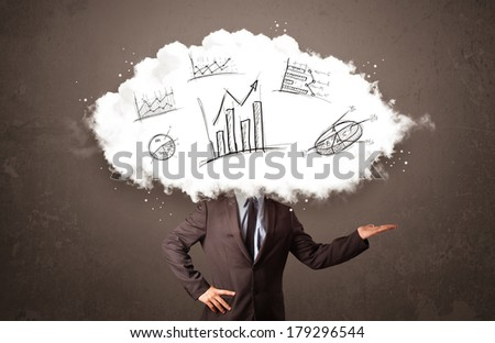 Elegant business man cloud head with hand drawn graphs concept - stock photo